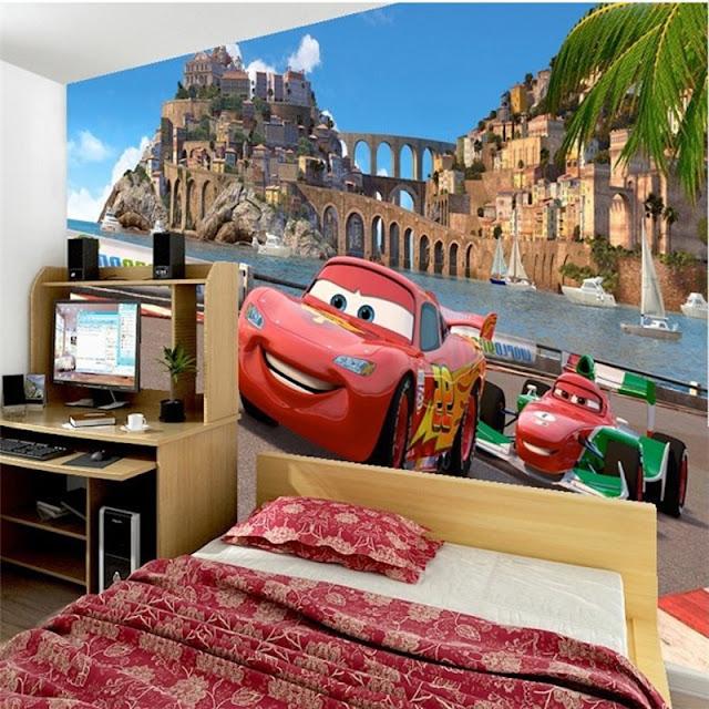 disney wall mural cars pixar wallpaper kid bedroom children boy