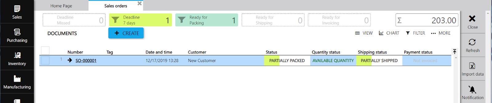 sales order statuses