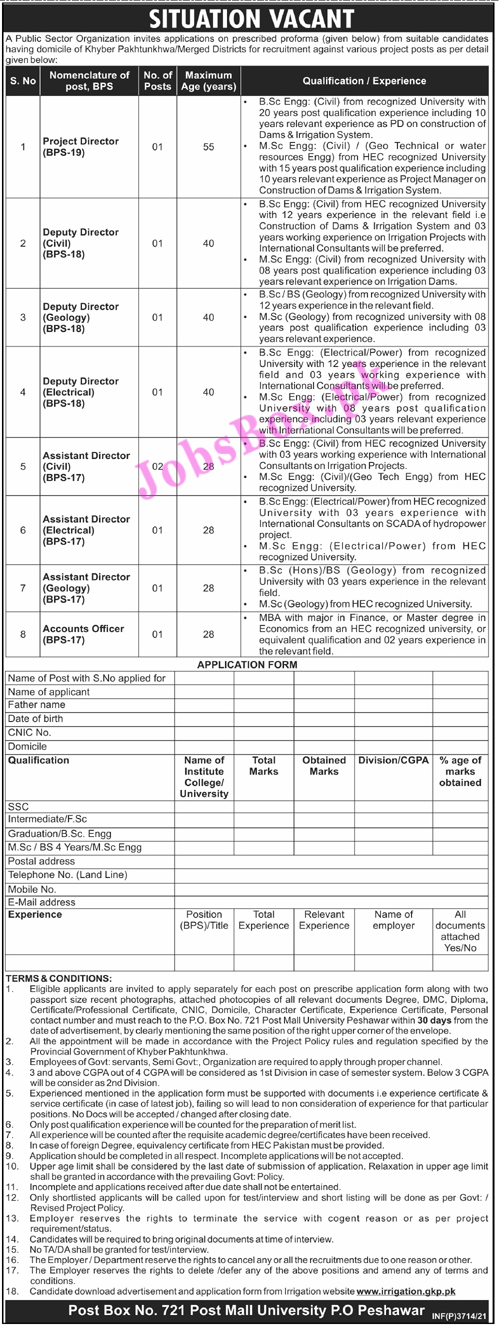 www.irrigation.gkp.pk Jobs 2021 - Irrigation Department KPK Jobs 2021 in Pakistan