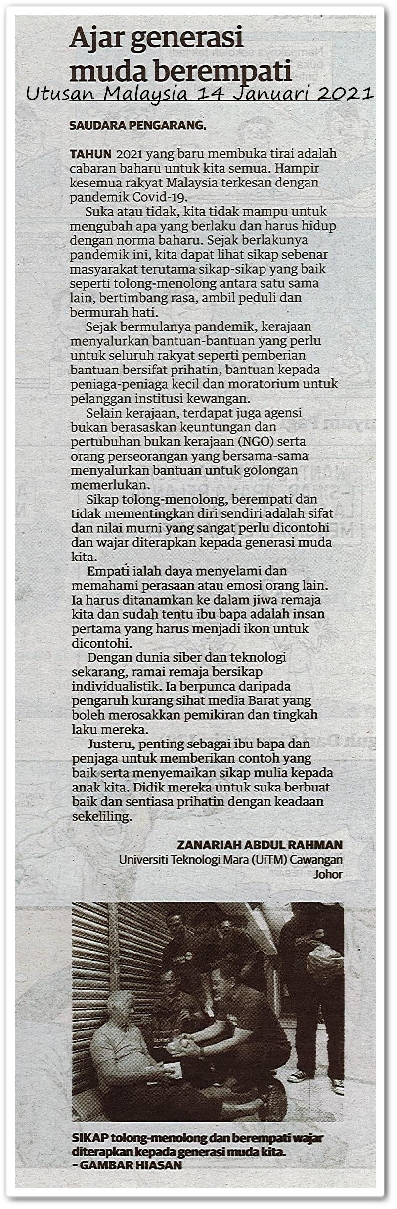 Ajar generasi muda berempati - Keratan akhbar Utusan Malaysia 14 Januari 2021