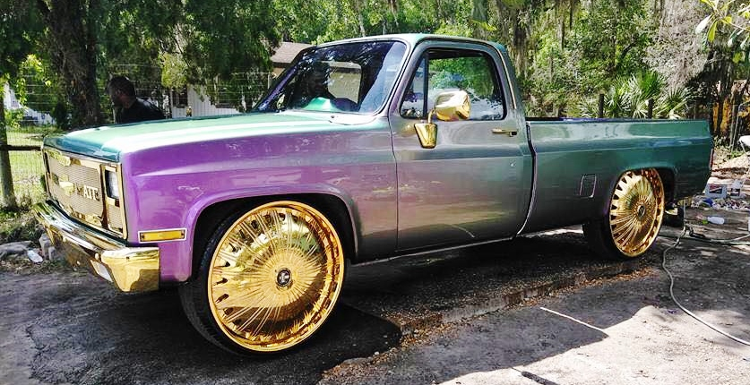 "Ace-1: Outrageous Chevy Longbed Truck on Gold 30"" Dub ..."