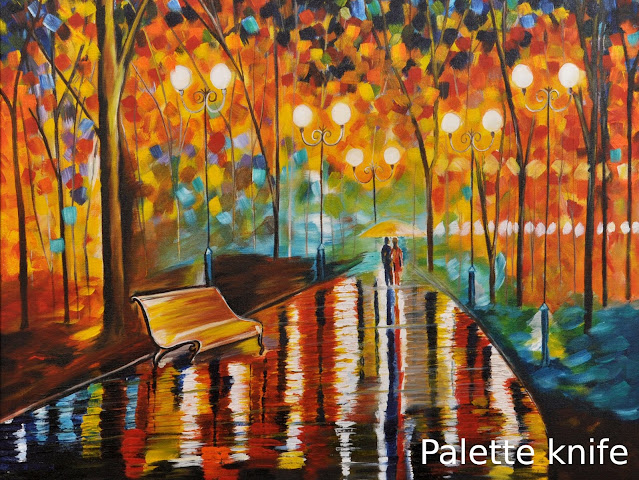 Multi color Palette knife Painting of couple walking in park, lamp post and bench in background
