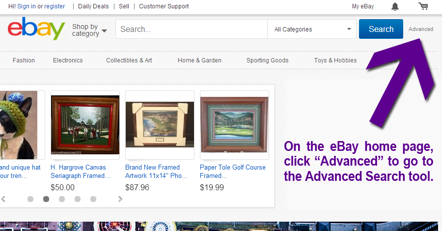 "Click ""Advanced"" on Ebay's Home Page To Search Completed Listings By Keyword"