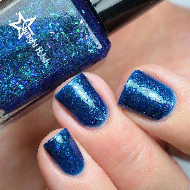 blue flakie nail polish swatch