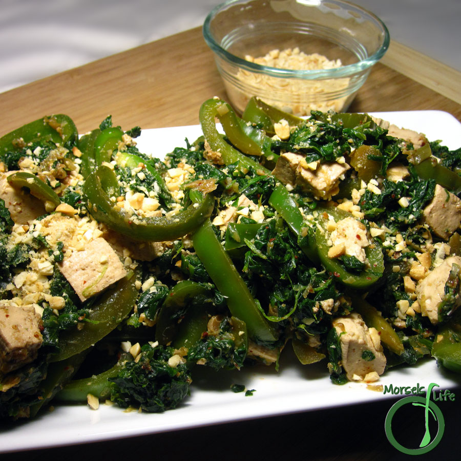 Morsels of Life - Thai Style Tofu with Peppers and Peanuts - Thai-style tofu with bell peppers and spinach, topped with chopped peanuts.