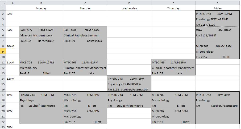 Calendar Making Program Nyu Calendar The Making Of A Pathologists Assistant Fall Semester