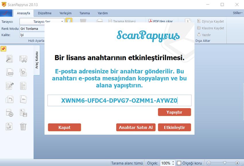 ScanPapyrus Aktivasyonu