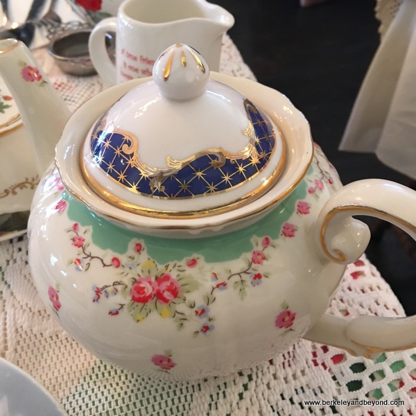 vintage teapot at Lovejoy's Tea Room in San Francisco