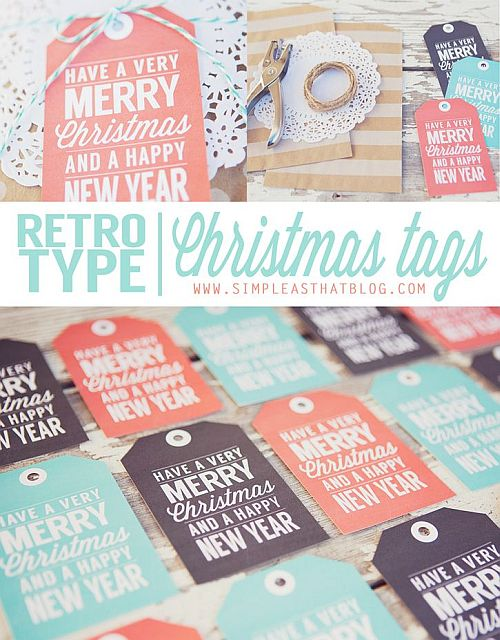 vintage inspired blue, pink and black printable Christmas gift tags for free