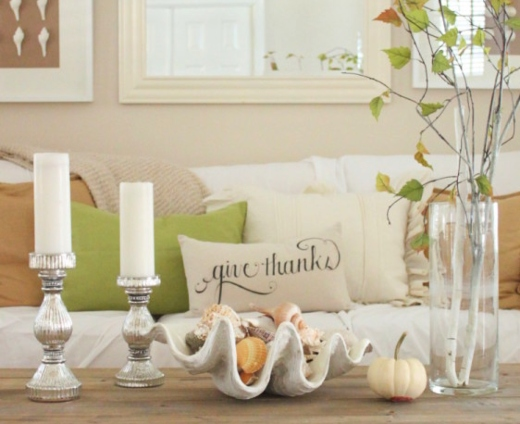 Coastal Fall Decor Coffee Table Decoration Tabletop Idea