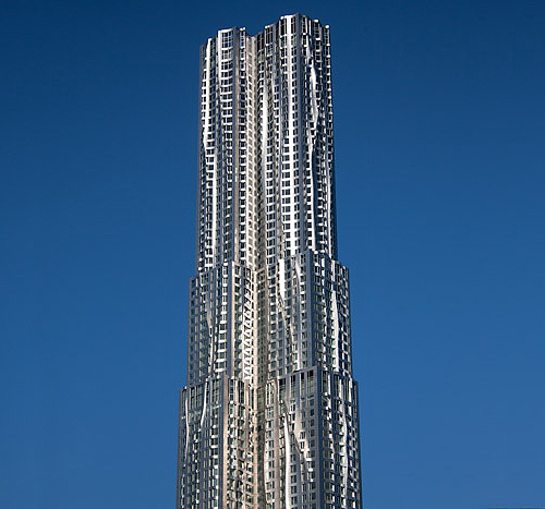 8 spruce street new york by gehry frank nyc tower building skyscraper St ny rascacielos edificio facade sky blue roof detail detalle