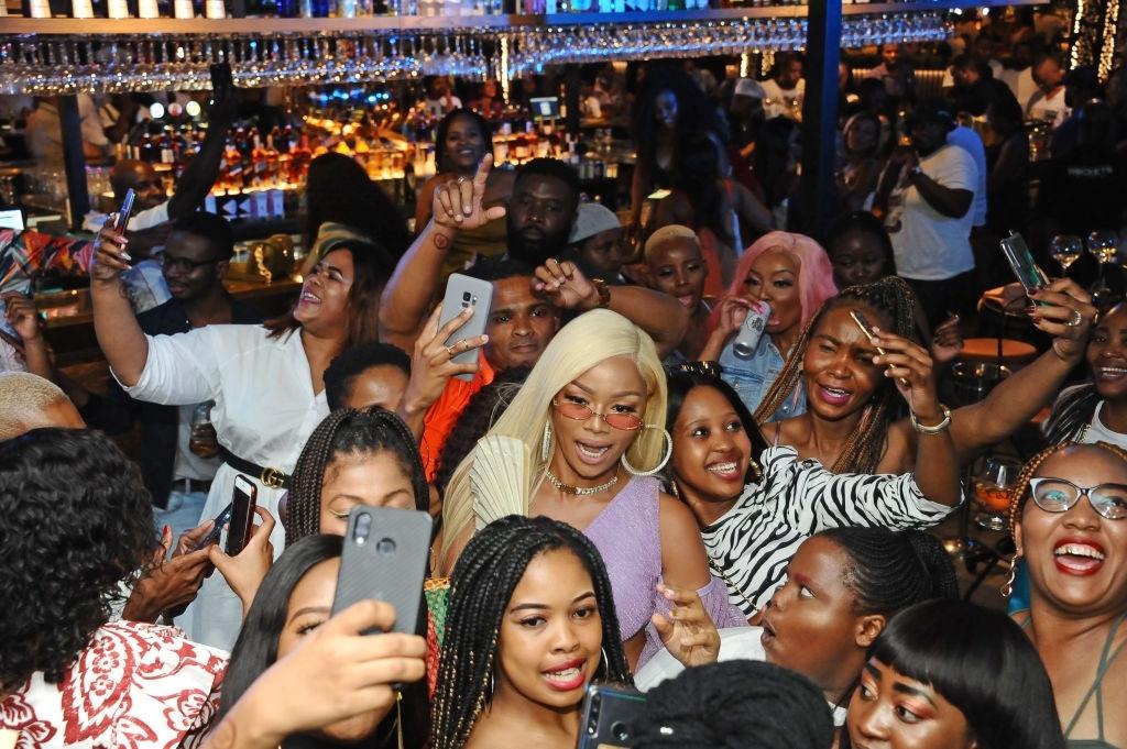 Bonang Matheba celebrates the launch of BNG Nectar at Rockets Menlyn in South Africa
