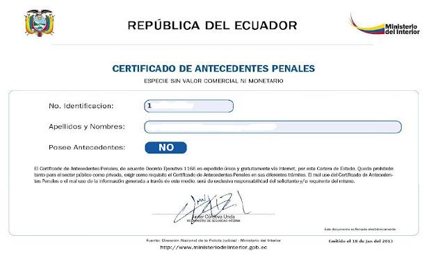 certificado de antecedentes penales record policial