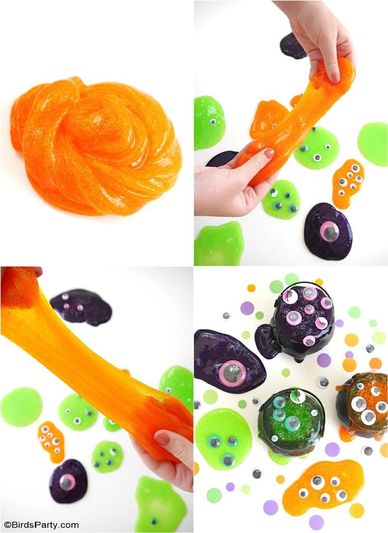 Recette rapide et facile de slime d'Halloween pour enfants - apprenez à fabriquer ce slime amusant et joli pour votre fête d'Halloween! by BirdsParty.com @birdsparty #slime #recetteslime #slimehaloween #diyslime #slimefacile #slimerapide #halloween