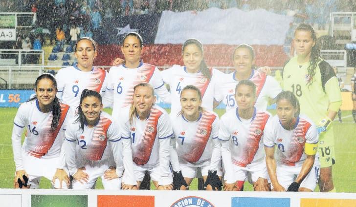 Formación de selección femenina de Costa Rica ante Chile, amistoso disputado el 9 de junio de 2018