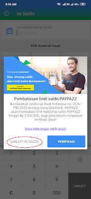 cara isi saldo Payfazz tanpa verifikasi terlebih dahulu