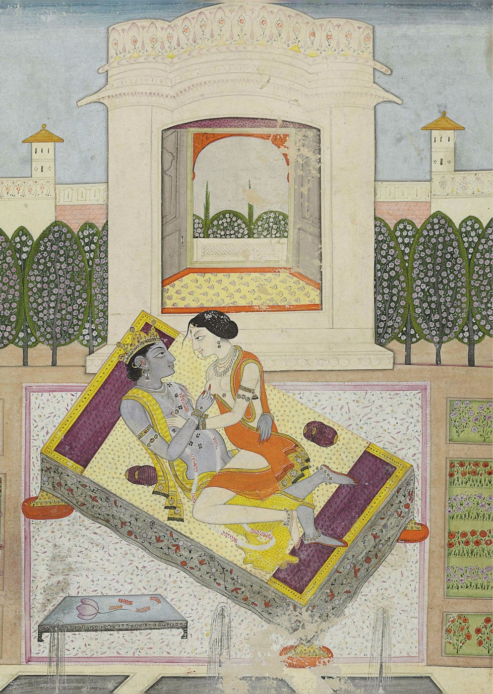 Krishna and Radha Engaged in an Amorous Embrace - Miniature Painting, Guler, Circa 1810