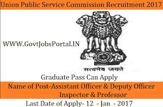 UPSC Recruitment For 63 Officer Posts 2017