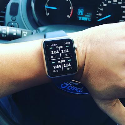 Cảm biến áp suất lốp lắp đặt Ford Ranger - Hiện thị trên Apps Watch