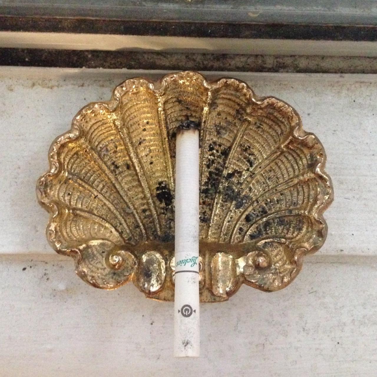 Cigarette on a gold seashell dish. | seashells, cigarette, vintage, decor, inspiration, vintage, baroque, aesthetic | Allegory of Vanity