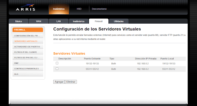 Servidor virtual Firewall modem Arris
