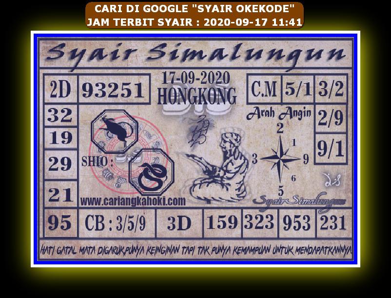 Kode syair Hongkong Kamis 17 September 2020 276