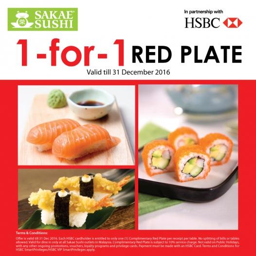 Sakae Sushi Malaysia Free Red Plate HSBC Card Promo