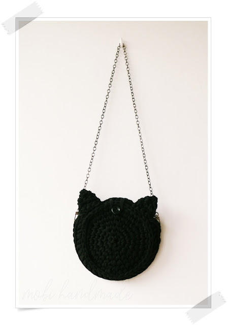 Dziergana torebka z uszami kota