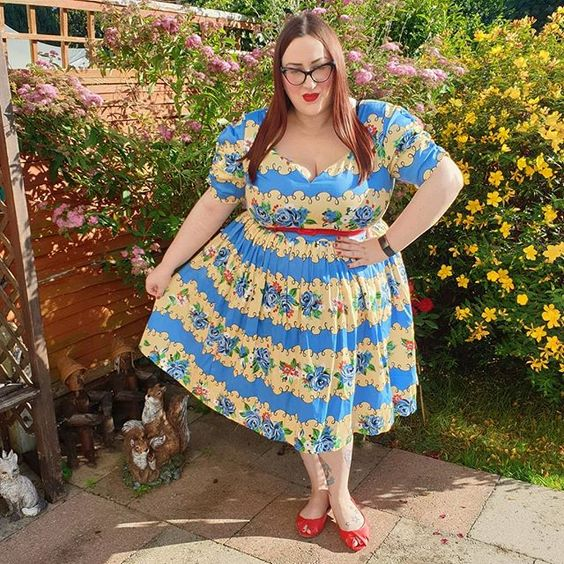 Lindy Bop Francine Blue Rose Stripe Dress