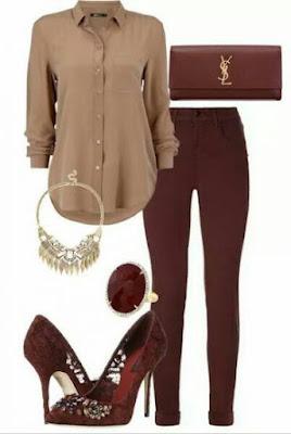 kemeja longgar coklat, celana coklat, heels merah