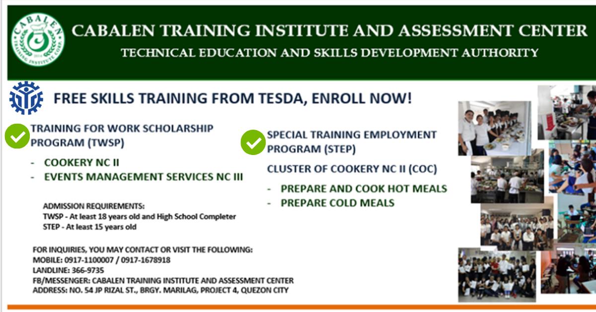 4 Free Skills Training from TESDA (TWSP & STEP)