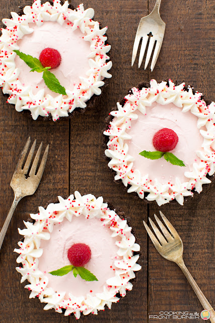 no bake mini easy raspberry mousse tarts
