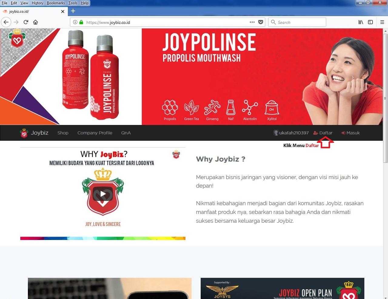 Menu Daftar di Website Resmi Joybiz