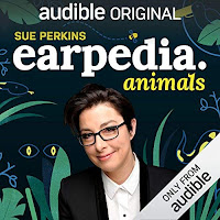 Sue Perkins Earpedia audiobook cover. Photo of a smiling Sue Perkins on a jungle-themed background