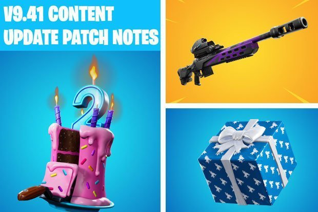 Fortnite update v9.41, Fortnite v9.41 Content Update, Fortnite Patch Notes, Sniper Rifle Scout fortnite, birthday gifts fortnite, Fortnite, gaming, Birthday Cakes and Presents, basic game, the game,