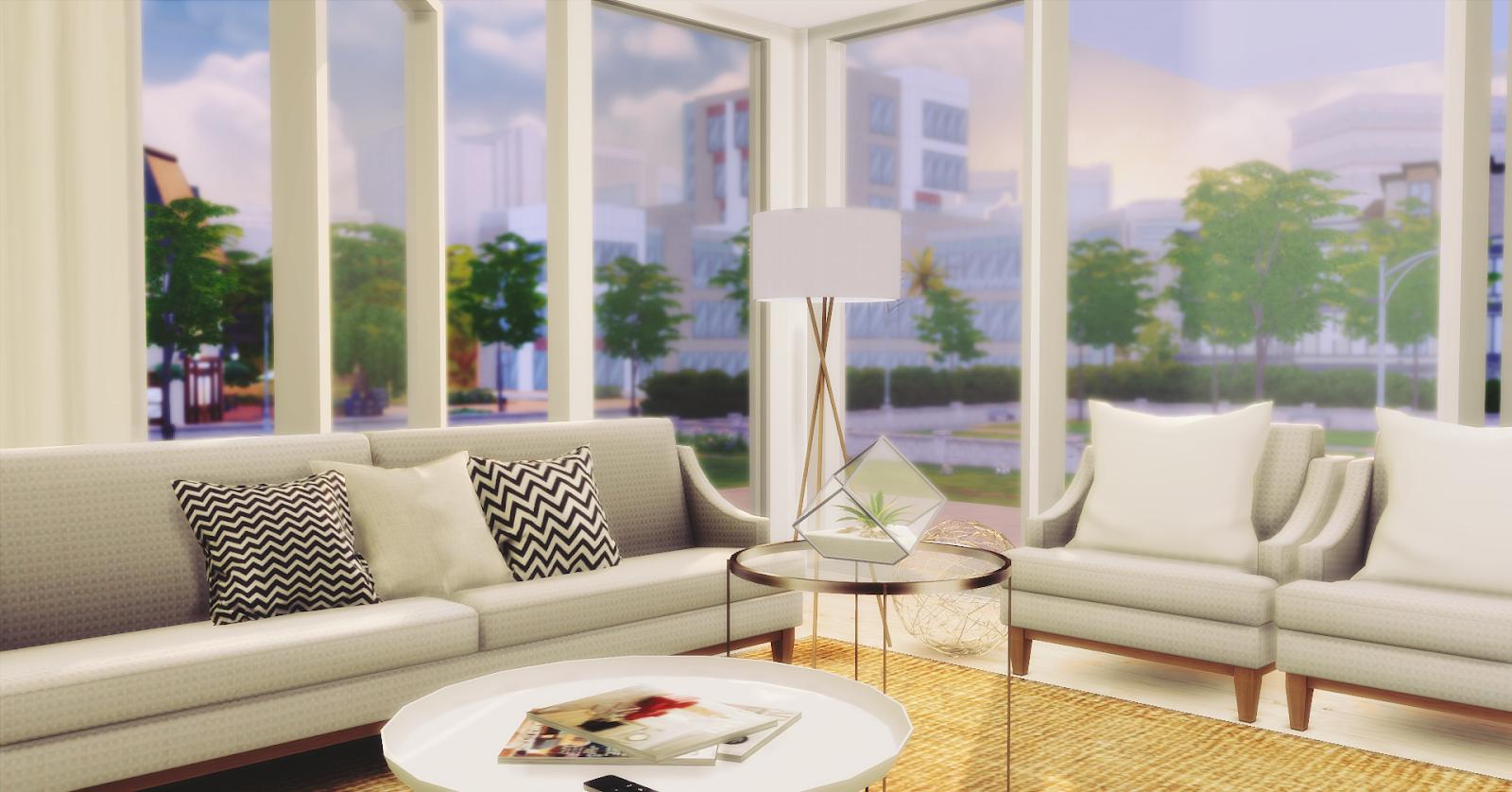 Living room minimalist lily sims for Sala de estar the sims 4