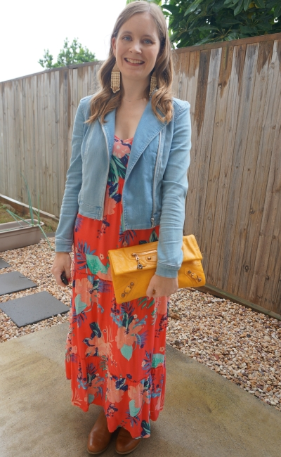 denim jacket, ankle boots, statement earrings, balenciaga mango envelope clutch to layer floral print maxi dress for autumn | awayfromtheblue