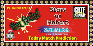 BBL T20 Today Match Prediction Hobart vs MLS 27th 100% Sure Winner