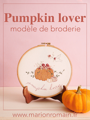 Pumpkin lover : modèle de broderie du mois d'octobre #MarionRomainPatterns