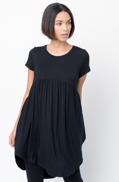 Shop for Black Tee tunic dress  u neck and a full skirt  Online - $44 - on caralase.com