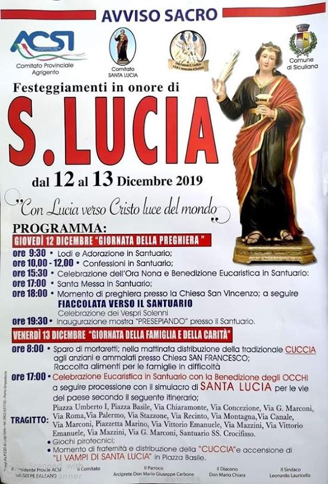 FESTEGGIAMENTI IN ONORE DI SANTA LUCIA 2019