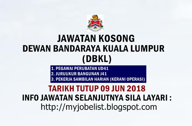 Jawatan Kosong Dewan Bandaraya Kuala Lumpur (DBKL) Jun 2018