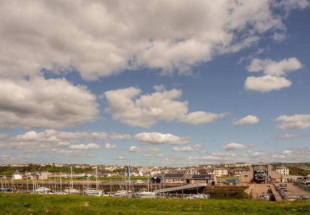 Photo of the view looking across Maryport Marina towards the town