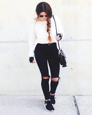 outfit juvenil blanco y negro de moda
