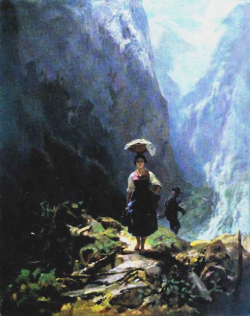 Carl Spitzweg painting cross on path