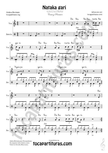 Nataka gari Partitura de Batería Fácil para acompañar la canción Drum Easy Sheet Music for battery