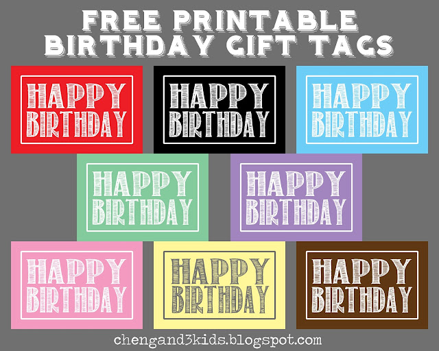 These are free printable HAPPY BIRTHDAY gift tags, it comes in 8 colors - red, black, blue, green, purple, pink, yellow and brown. Each color is available in 2 sizes, 2x3 and 4x6.