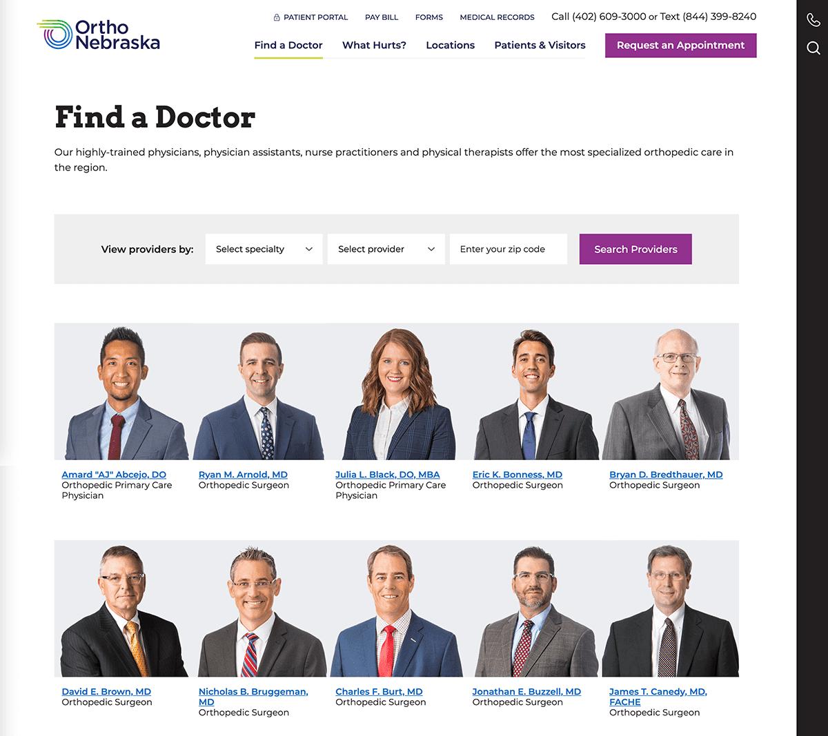 Screengrab of OrthoNebraska's physicians directory list webpage