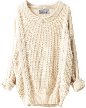 Liny Xin Oversized Loose Knitted Crew Neck Sweater