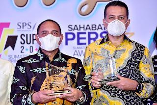 Gubernur dan Wagub Sumut Dianugerahi Penghargaan Sahabat Pers